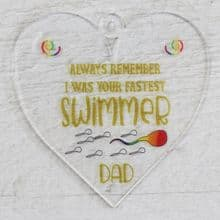 Printed 9.5cm Heart cut from 3mm Acrylic Dad Daddy Fathers Day Gift - Swimmer